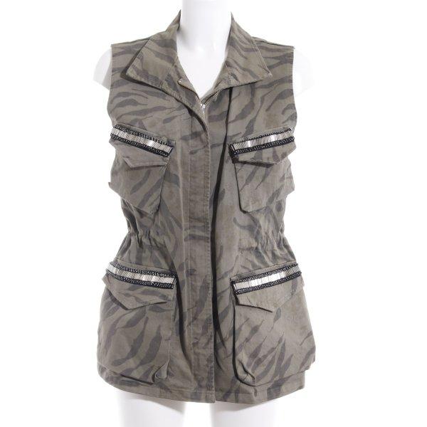 Vicolo Bikerweste khaki-grüngrau Camouflagemuster Street-Fashion-Look