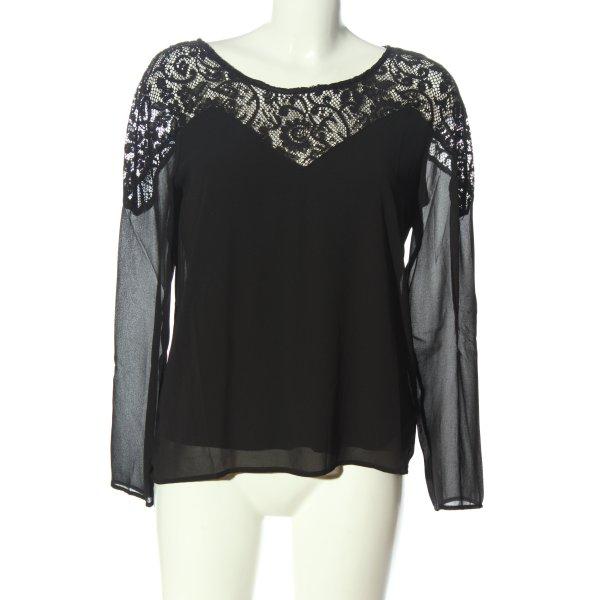 Vila Clothes Langarm-Bluse schwarz Business-Look