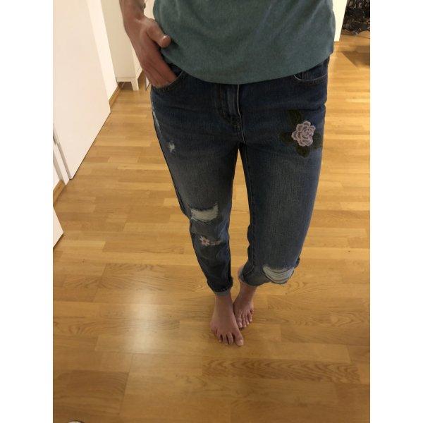 Vila Hose Jeans blau Used Look xs 34 w27 boyfriend Mode Blogger Fashion