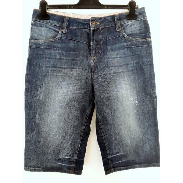 Vila Jeansshorts dunkelblau Washed-Optik Used-Look