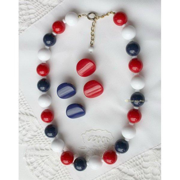 Vintage 1980er Jahre Rockabella Schmuck Set Perlenkette und 2 Paar Clipse Ohrringe Rockabilly