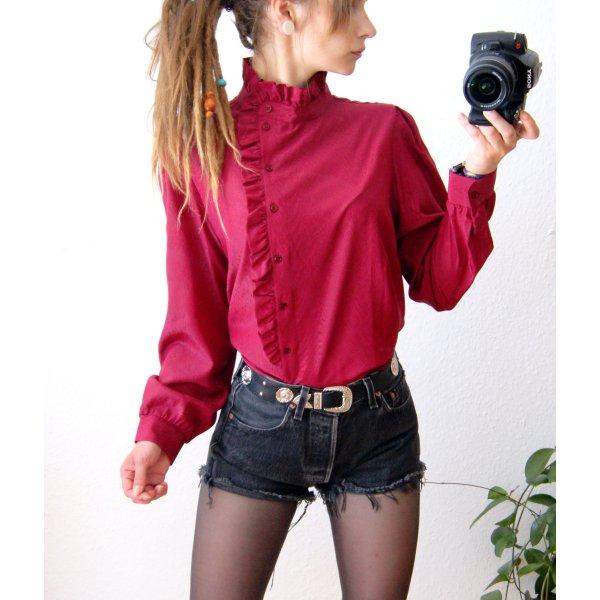 Vintage Bluse beerenfarbig, hochgeschlossene Bluse Volants, alternative preppy blogger