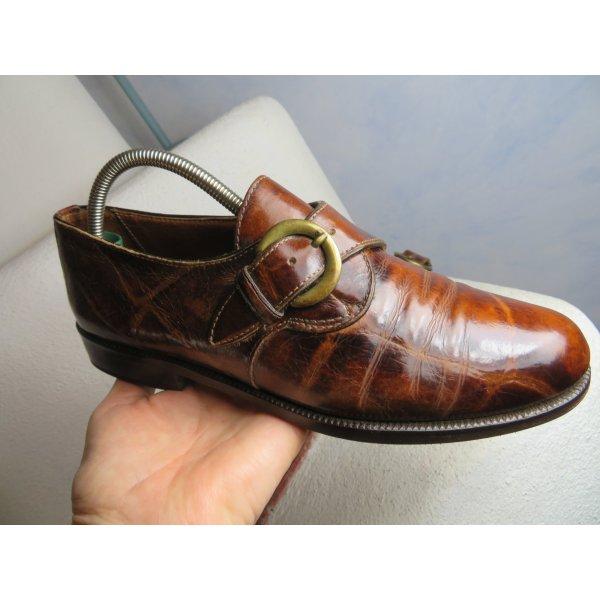 Vintage Braun Monk Schuhe - Gr. 36,5 bis 37 - Schnallen Derby Leder Schuhe Flats Brogues