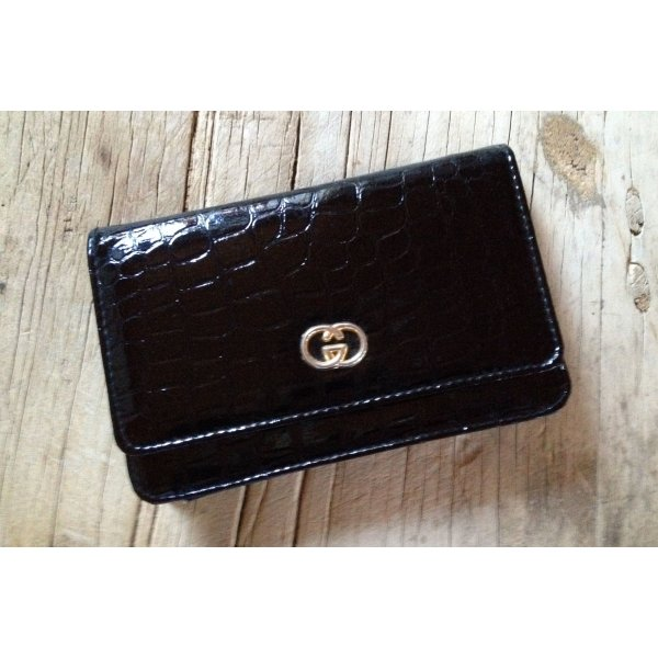 Vintage Clutch Bag Lack schwarz Abendtasche