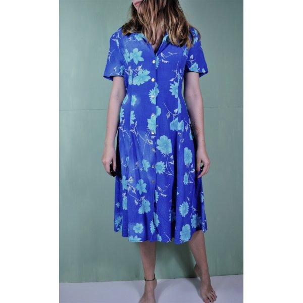 Vintage Kleid mit Blumen in Hellblau und Dunkelblau / Türkis / Himmelblau