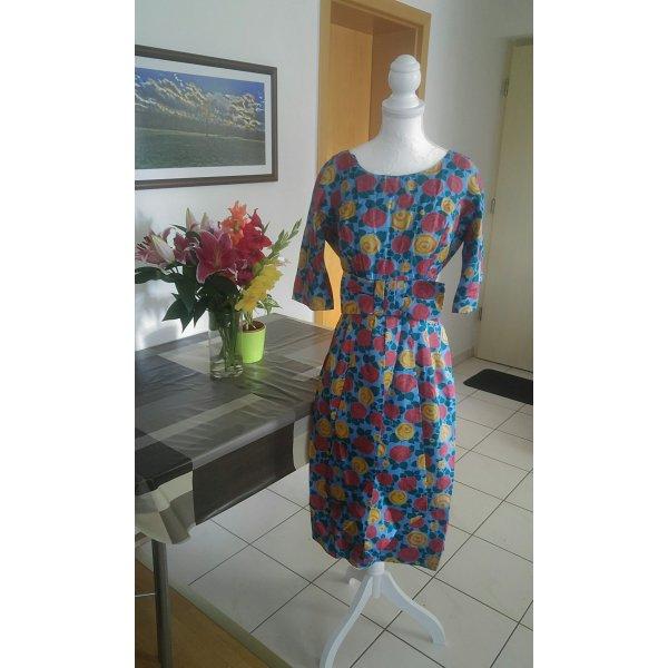 Vintage Kleid wiggledress Seide floral schleife 50s Designer couture