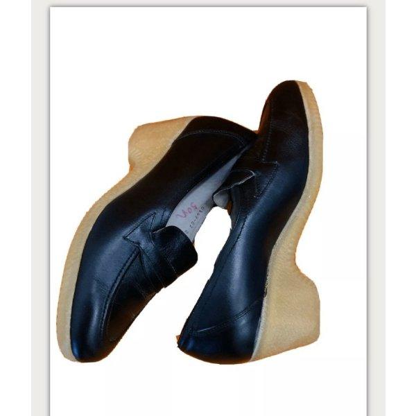 Vintage -NEU- schwarze Pantoletten Leder mit Absatz Gr. 40