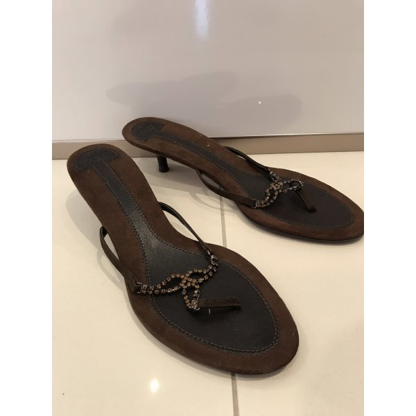 Zara High-Heeled Toe-Post Sandals bronze-colored-dark brown leather