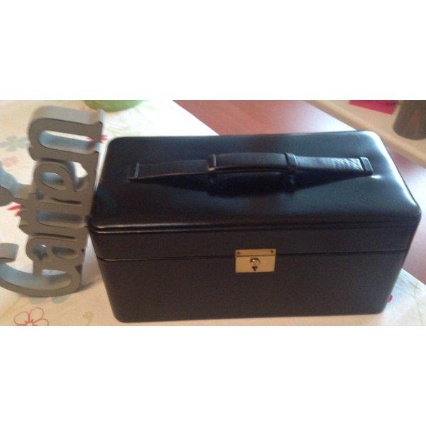 Koffer zwart-karmijn Leer