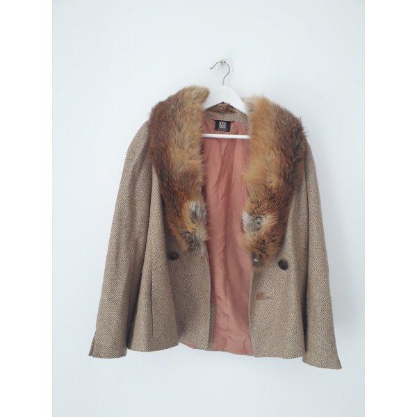 Vintage Tweed Jacke mit Pelzkragen Größe M Einzelstück