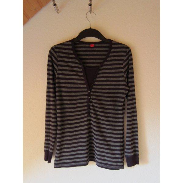 Violett-grau gestreiftes Schlafanzug-Oberteil