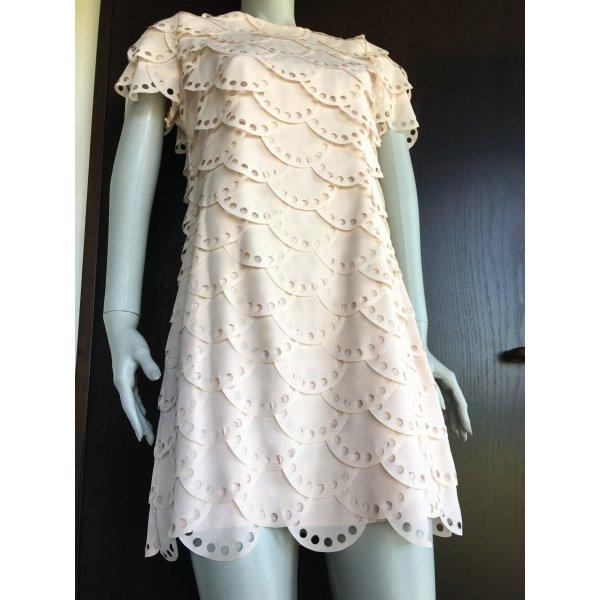 Warehouse Nude Scallop Kleid Muschelsaum Rüschen Volants rosa rosé asos zara