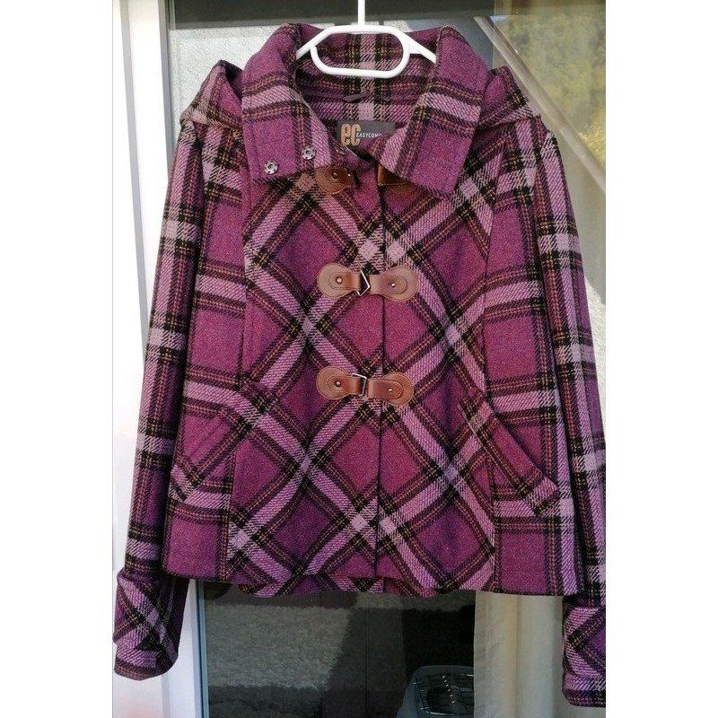 Warme Wool Jacke mit Kapuze von Easycomfort, Lila Karo, Gr. 38