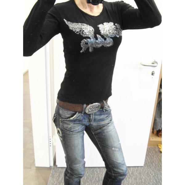 WE ARE REPLAY Longsleeve langarm T-Shirt Gr. S (xs 34 36) schwarz Pailletten
