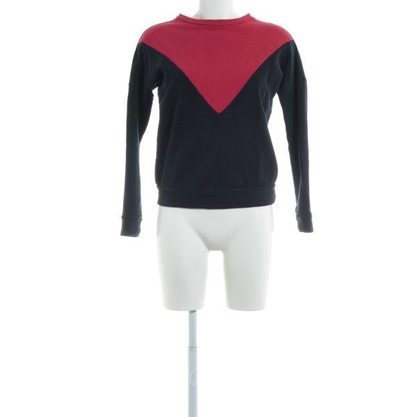 WE Sweatshirt bleu foncé-rouge blocage de couleur style décontracté