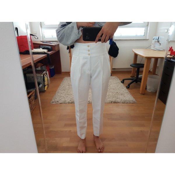 Weiße Zara Bundfaltenhose