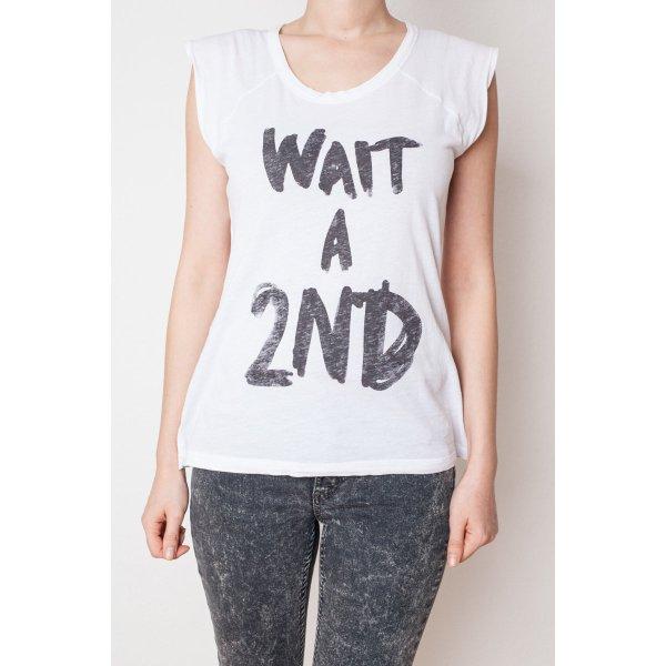 weißes Shirt,mit Print Wait a 2nd, T-Shirt,