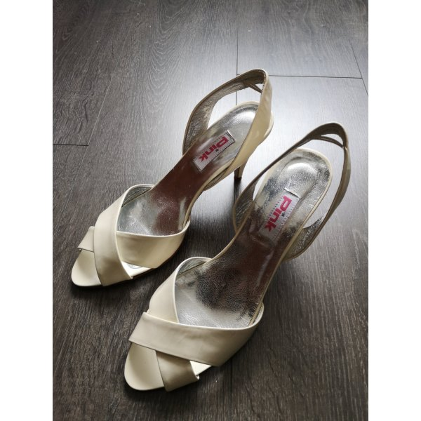 White patent leather sling back / peep-toes