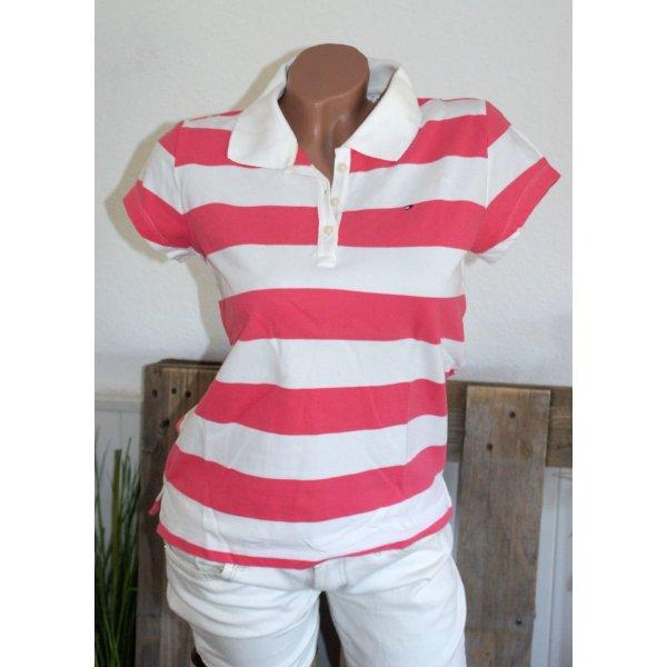 Wie Neu ● Gr. L ● TOMMY HILFIGER ● Poloshirt Koralle Weiß Stretch ● Shirt Polo ☆ ☀ ♥ DIE BESTEN SCHNÄPPCHEN - JETZT MEGA REDUZIERT ☆ ☀ ♥