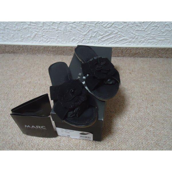 Wie neu,MARC schwarze Lederpantoletten 38