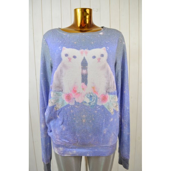 WILDFOX Damen Sweatshirt Print Katzen Bunt Kuschelig Rayon Stretch Oversized S