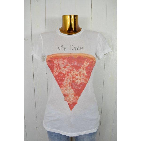 WILDFOX Damen T-Shirt Basic Rundhals MY DATE PIZZA Weiß Bunt Baumwolle Gr. S