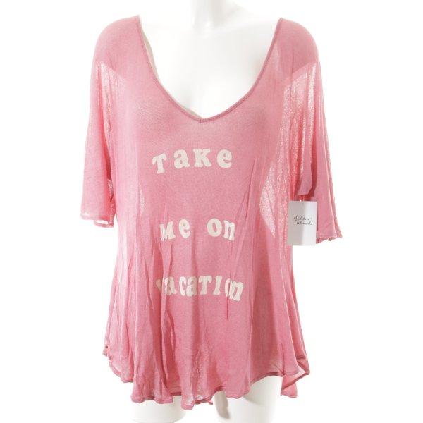 Wildfox Oversized Pullover rosa-wollweiß Schriftzug gedruckt Casual-Look