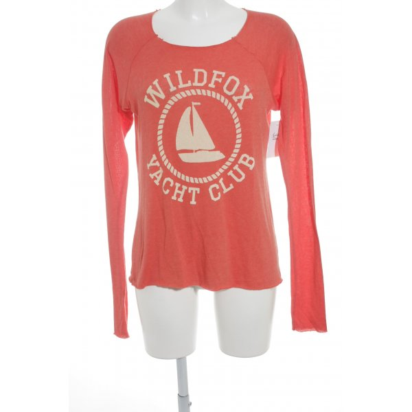 Wildfox Rundhalspullover orange Motivdruck Casual-Look