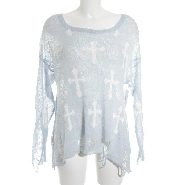 Wildfox Strickpullover babyblau-weiß Street-Fashion-Look