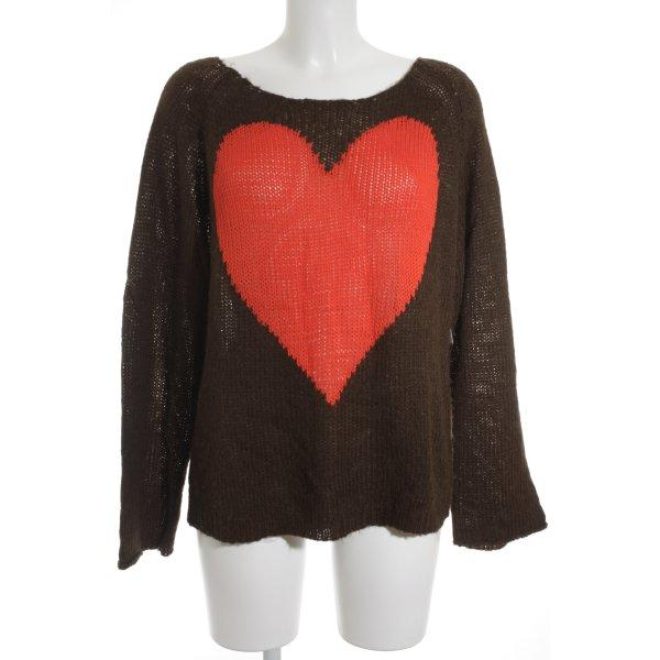 Wildfox Strickpullover braun-rot Herzmuster Street-Fashion-Look
