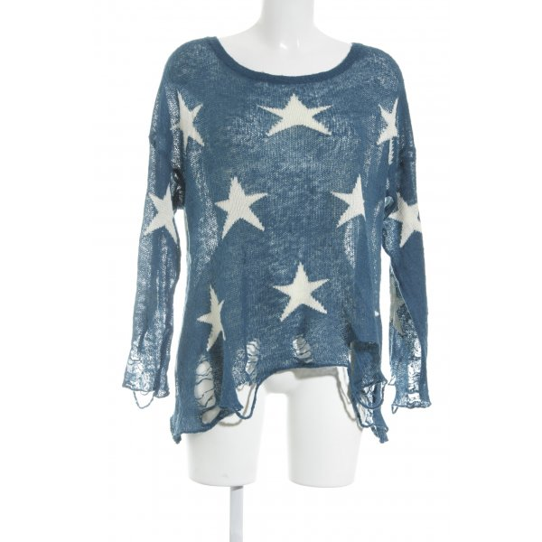 Wildfox Strickpullover petrol Sternenmuster Street-Fashion-Look