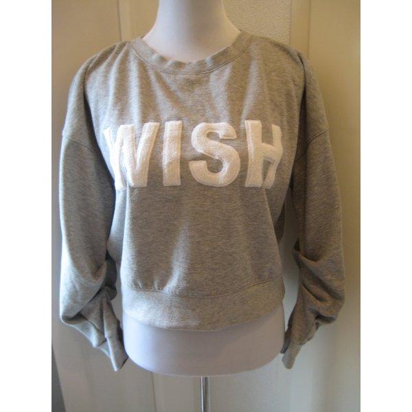 WISH Sweater Pulli Grau Weiss Gr S