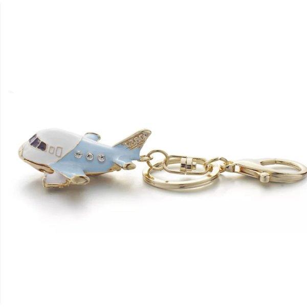 witziger Schlüssel-/ Taschenanhänger Flugzeug, blau, golden NEU