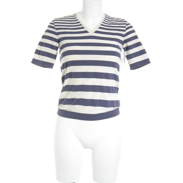 Wolford T-Shirt hellbeige-stahlblau Streifenmuster Casual-Look
