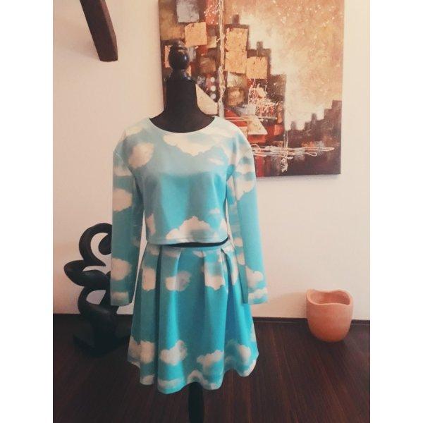 Vestido de tela de sudadera azul claro