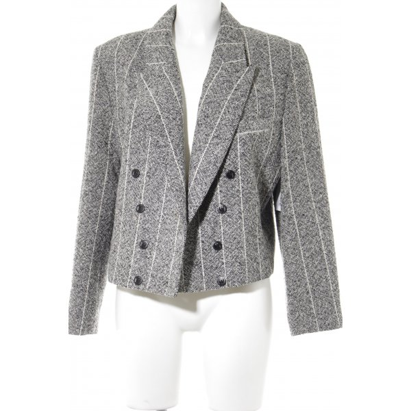 Wool Blazer black-natural white flecked business style