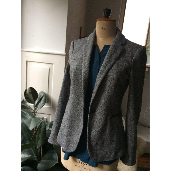 Zara Basic Wool Blazer dark grey-light grey wool
