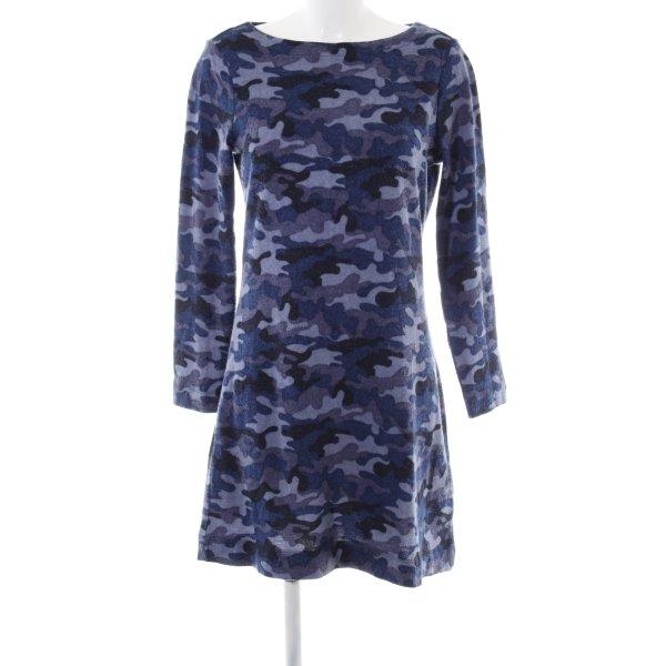 WOMAN Strickkleid blau-lila Camouflagemuster Casual-Look