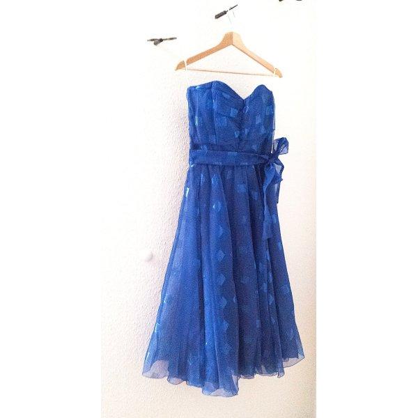 WOOOW!!! Schulterfreies Rockabilly Kleid mit Gürtel in blau von Vera Mont, teilweise in Metallic Optik,  Gr. 38