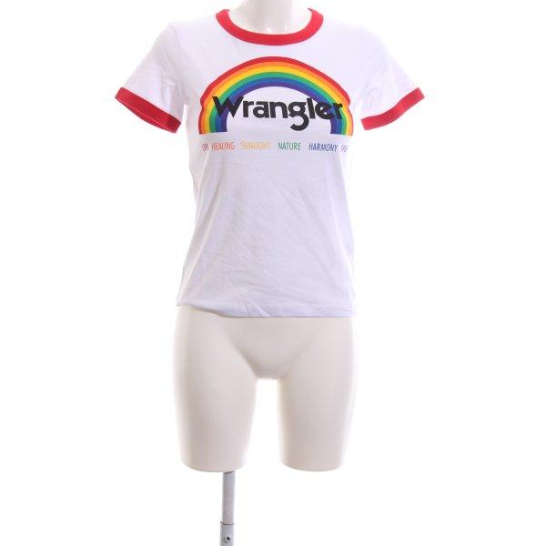 Wrangler Print-Shirt weiß-ziegelrot platzierter Druck Casual-Look