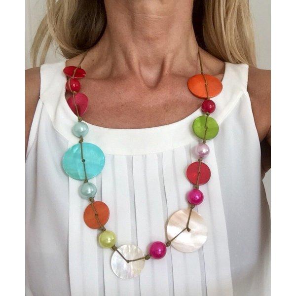 wunderschöne bunte Halskette * mehrfarbig * Gesamtlänge: ca. 85 cm