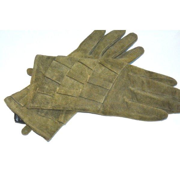 wunderschöne Handschuhe aus Wildleder mit Rüschen / Volants Gr. M