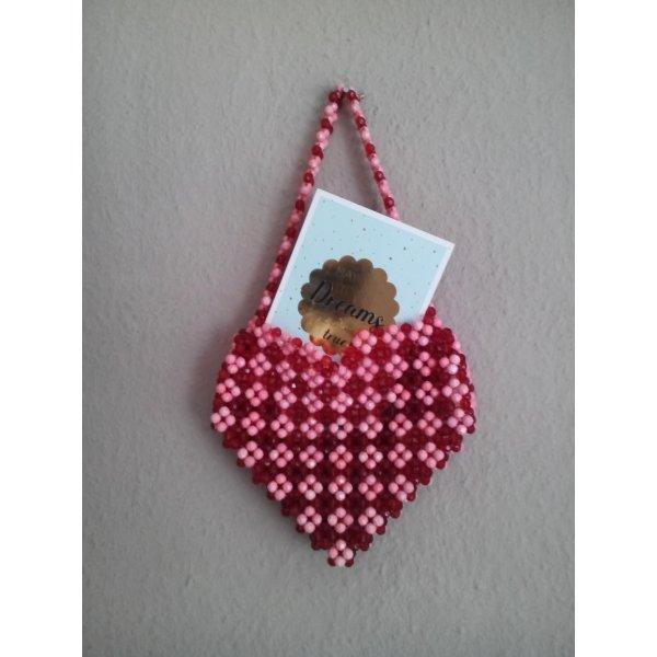 wunderschöne kleine Beuteltasche mit Schmuckperlen in Herzform, Limited Edition, neu