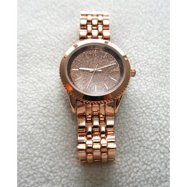 Wunderschöne Uhr in roségold mit Glitzer-Zifferblatt