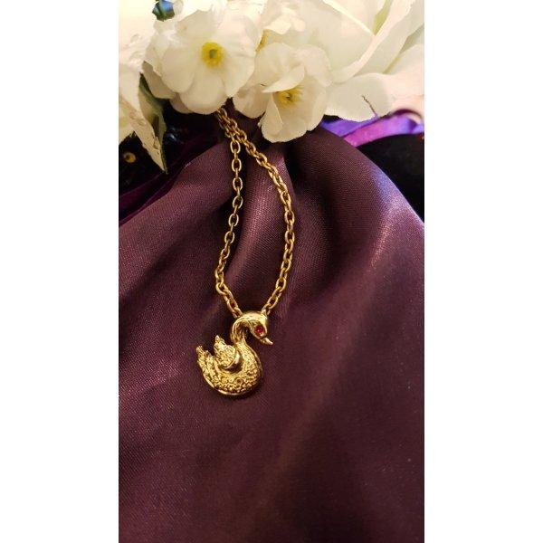 Wunderschöne vergoldete Halskette mit Schwanenanhänger