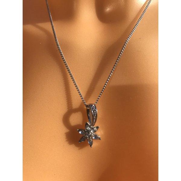 Wunderschöne zarte Halskette * Modeschmuck versilbert * mit Strass