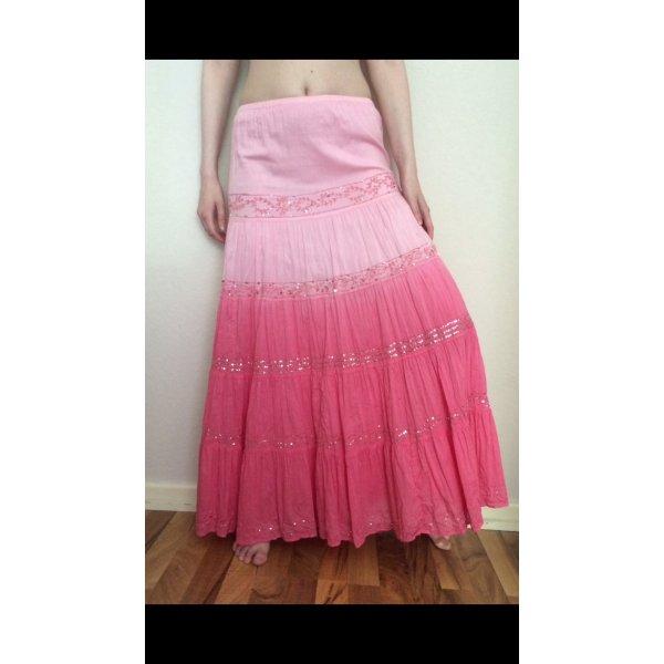 Wunderschöner Maxirock Pailletten Pink Batik