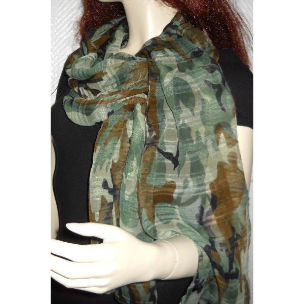 XXL Schal Chiffonschal Schlauch Chiffon Camouflage Tarn oliv grün khaki braun