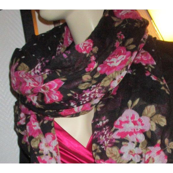 XXL Tuch Schal schwarz Blumen Blüten Rosen pink rot grün mit grauen Punkten h m 180x85cm sehr gut!