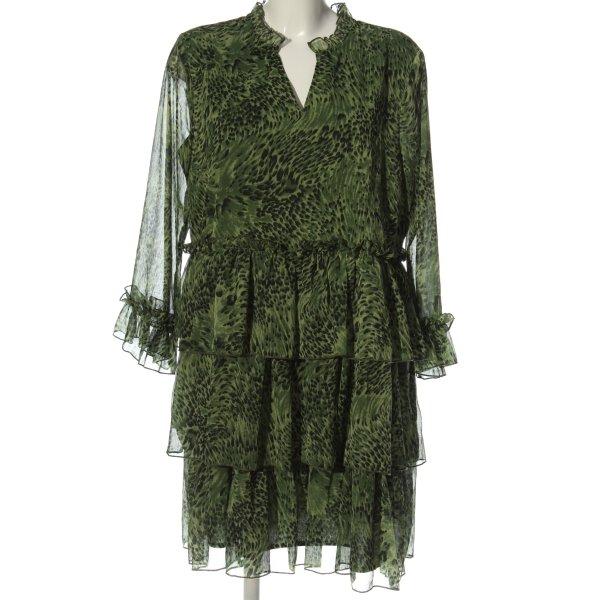 YAS Langarmkleid grün-schwarz abstraktes Muster Casual-Look